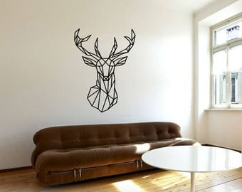 Charmant Geometric Deer Wall Art, Living Room Decor, Removable Wall Decal, Animal  Wall Decor
