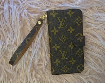 Louis Vuitton Phone Folio Wallet with Wristlet Strap. All IPhone and Samsung models X 7 8 Plus. Upcycled from Authentic LV Monogram Canvas