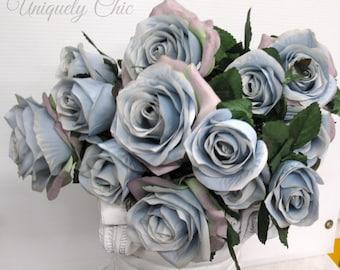 DIY Wedding bouquet, Dusty blue rose bush, Silver blue rose bouquet, DIY Wedding supplies, Wedding flowers, Wedding decor
