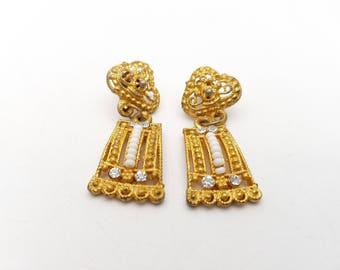 Vintage Intricate and Detailed Drop Dangle Pierced Earrings Rhinestone White Gold Tone Metal Geometric Mod Retro Classic Feminine Statement