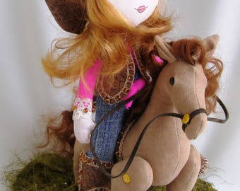 Handmade cowgirl  Doll cowgirl in boots, hat and jacket Gift for girls Interior rag doll Cotton cowgirl and horse Doll with bucket and horse