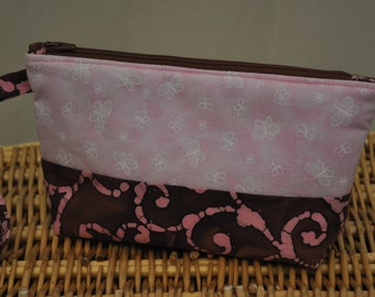 Mini clutch (chocolate and pink)