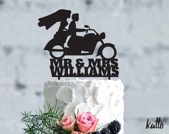 Motorcycle wedding cake topper, Couple with Motorcycle Cake Topper, Couple with Motorcycle wedding Gift, Bride and Groom topper