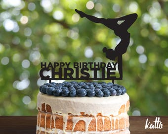 Gymnast birthday Cake Topper- Customizable Cake Topper- Gymnastics Cake Topper- Silhouette Gymnast Cake Topper- Personalized cake topper