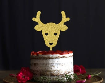Christmas cake topper, holidays cake topper, Rudolph Cake Topper, Reindeer Cake Topper, Winter Party Decor, Holiday Party, Christmas Decor