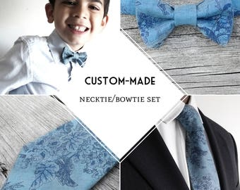 Custom-made necktie bowtie set, New Spring Collection, father/son matching ties, choose your design, made-to-order
