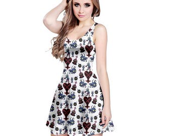Kingdom Hearts Enemies Dress - Skater Dress Videogame Dress Heartless Dress KH Dress Plus Size Cosplay Kingdom Hearts Dress Oddity Apparel