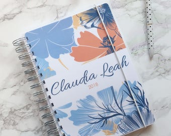 Personalised 2018 A5 Planner/Diary with or without tabbed dividers - Floral