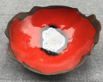 poppy red and Black ceramic Cup
