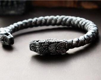 Silver Viking Bracelet, Snake Braided Bracelet. Made in 3d Printer. Friendship Bracelet, Jewelry, Ethnic decor, gift, Men's gift. Cosplay.