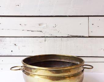 Vintage wide brass planter | brass planter