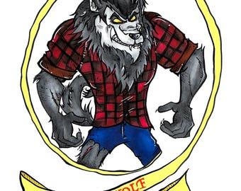 Werewolf Art Print Poster in A5