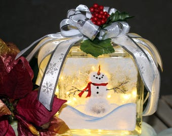 Snowman Decorative 6 Inch Glass Block - Battery Operated LED Fairy Lights