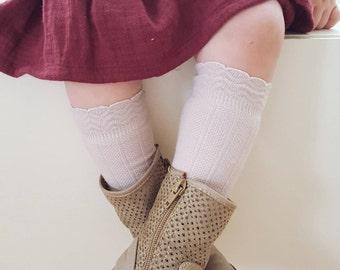 5 Colors! Baby RUFFLE SOCKS - PERSONALIZED, Knee High Socks, Toddler Knee High Socks