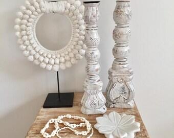 Whitewash Boho Hampton's Timber Candle Holder Set of 2