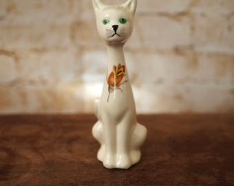 1970's Vintage Cat Ornament with Yellow Rose