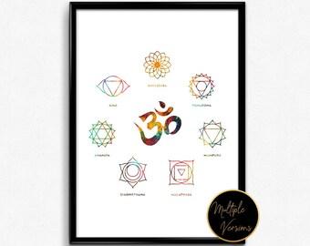 Set of chakra yoga symbols,watercolor art,print,home decor wall art,gift(1281)