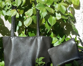 Textured Dark chocolate brown Vegan Leather Hand bag tote and coin purse