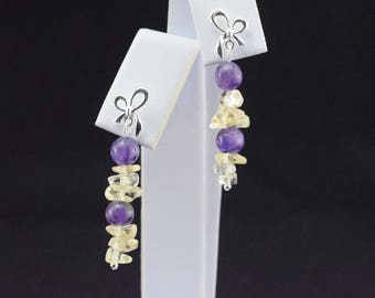 Pearl Earrings amethyst and Citrine - 925 sterling silver chips