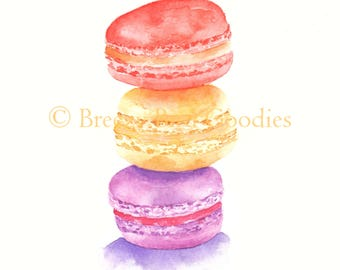 Macaroons Print, Watercolour Macaroons, Stacked Macaroons Art, Bonjour French Macarons, Dessert Print, Kitchen Print, Watercolor Food Art