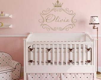 Bon Princess Name Wall Decal   Princess Crown Wall Decal Personalized Name,  Princess Crown Nursery Wall