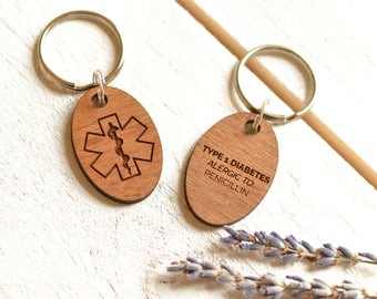 Medical Alert Keyring Medical ID Tag - Medic Charm Keychain - Medic Alert - Allergies Medications Awareness - Wooden Keychain