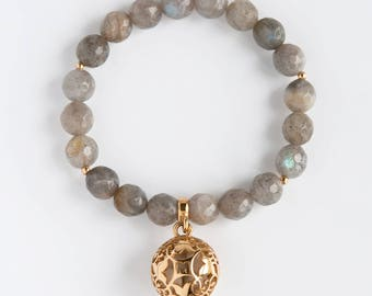 Labradorite Fragrance Bracelet/Charm Bracelet/Gemstone Bracelet/Mineral Bracelet/Fragrance Jewelry/Sterling Silver