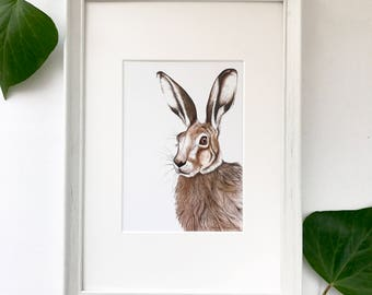 Hare print | hare home decor, hare picture, rabbit print, hare watercolour, hare painting, rabbit home decor, woodland animals, woodland art