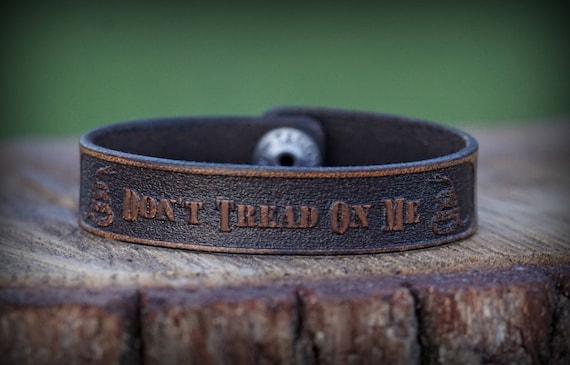Genuine Leather Bracelet, Don't Tread on Me
