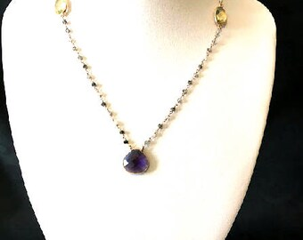 Pink Amethyst gold plated sterling silver necklace