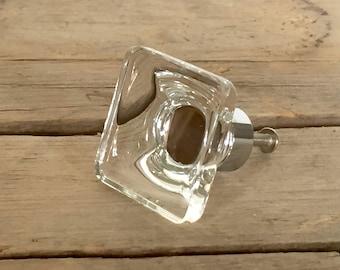 Large Square Glass Knob, Modern-Style Drawer Pull, Decorative Glass Knob