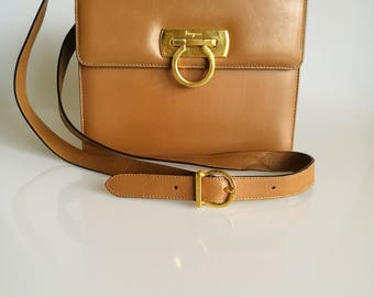 Salvatore Ferragamo Vintage Gancini Mini Shoulder Messenger Leather Bag Brown / Tan Colour