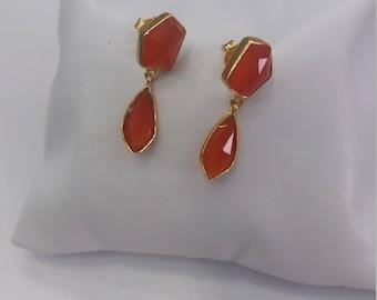 Orange Agate Earrings Gold platted silver 925