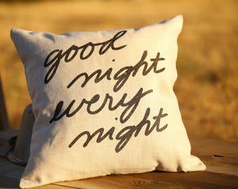 Good night every night pillow