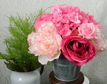 Farmhouse Spring Floral Arrangement, Mother's Day, Floral Arrangement, Pink Roses, Peonies, Hydrangea, Flowers, Country Cottage Rustic Decor
