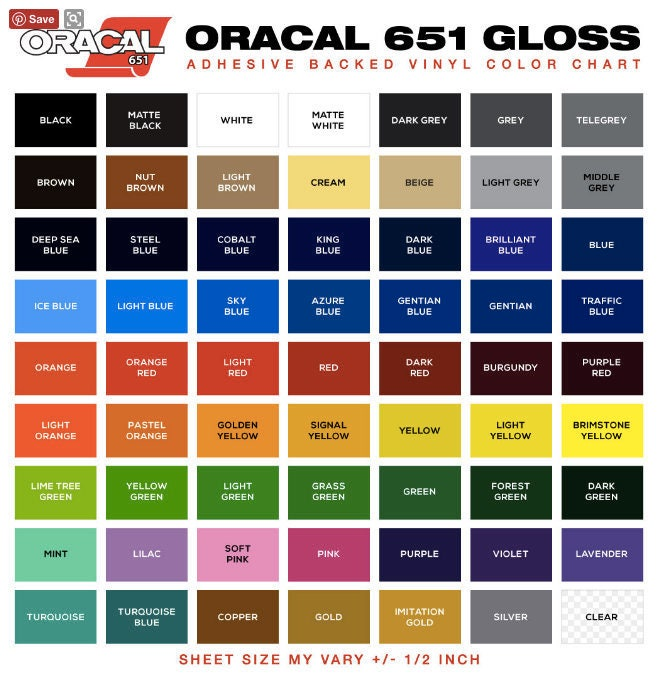 Oracal 651 Outdoor Permanent Adhesive Vinyl Sheets Or Rolls
