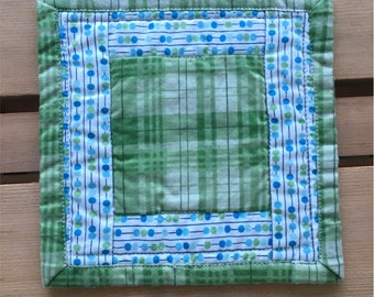 Green Plaid Quilted Mug Rug Fabric Coaster 5""