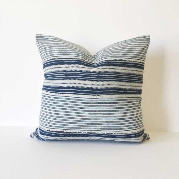 18 X18 Indigo and Ivory Striped Pillow Cover