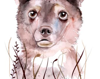 Baby Bear watercolor wall art print poster watercolor painting animal illustration nursery art children room decor kids nursery wall art