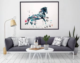 home decor modern horse wall art horse photo abstract photo poster blue black white wall art