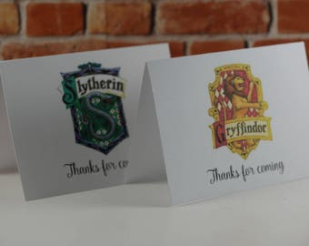 Hogwarts Houses thank you cards, Hogwarts Houses inspired card, Hogwarts School of Witchcraft and Wizardry , Harry Potter theme
