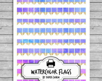 20% SALE Printable Flag Stickers | Gold Flag Stickers | Erin Condren Flag Stickers | Reminder Stickers | Printable Planner Stickers