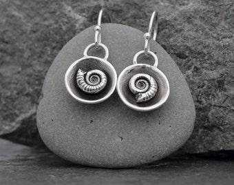 Fossil Ammonite Silver drop earrings - cupped ammonite - rustic earrings -natural beauty- earthy -organic -boho - prehistoric