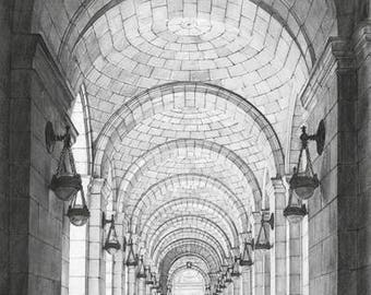 """Union Station DC Charcoal Drawing Print: """"Lamps"""" 10""""x15"""" (Limited Edition)"""