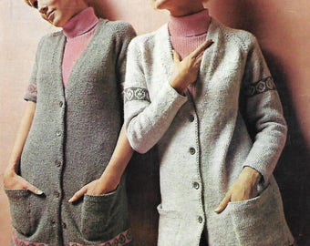 knitting pattern, women's, ladies, fair isle cardigan, 60's, sizes 32 to 38 in, pdf, digital download, instant download