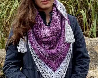 The Memphis- Crochet Triangle Scarf with Tassels