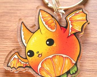 Orange Fruit Bat Cute Keychain, Kawaii Hanging Citrus Bat Keyring, Birthday Gift, Gifts for Animal Lovers, Super Cute Bats