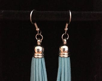 Blue and Silver Tassel Earrings