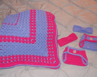 Baby Afghan, diaper cover and headband set