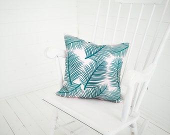 Palm Leaf Garden Green Pink Cushion Pillow Tropical Palm Tree
